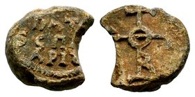 Byzantine Lead Seal 7th - 11th C. AD.  Condition: Very Fine  Weight: 15.30 gr Diameter: 22 mm
