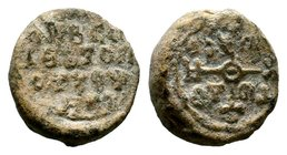 Byzantine Lead Seal 7th - 11th C. AD.  Condition: Very Fine  Weight: 15.82 gr Diameter: 22.37 mm