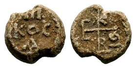Byzantine Lead Seal 7th - 11th C. AD.  Condition: Very Fine  Weight: 11.11 gr Diameter: 19.19 mm