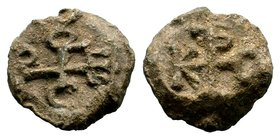 Byzantine Lead Seal 7th - 11th C. AD.  Condition: Very Fine  Weight: 16.44 gr  Diameter:25 mm