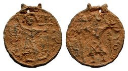 Byzantine Lead Pendant 7th - 11th C. AD.  Condition: Very Fine  Weight: 4.50 gr Diameter: 25.73 mm
