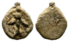 Byzantine Lead Pendant 7th - 11th C. AD.  Condition: Very Fine  Weight: 17.27 gr Diameter: 28 mm
