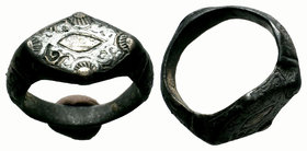 Ancient Byzantine Silver Ring ,  Condition: Very Fine  Weight: 10.10 gr Diameter: 22.84 mm