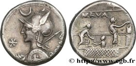 LICINIA Type : Denier  Date : 113-112 AC.  Mint name / Town : Rome  Metal : silver  Millesimal fineness : 950  ‰ Diameter : 17  mm Orientation dies : ...