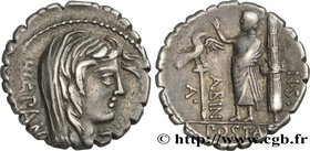 POSTUMIA Type : Denier serratus  Date : 81 AC.  Mint name / Town : Rome  Metal : silver  Millesimal fineness : 950  ‰ Diameter : 18?5  mm Orientation ...