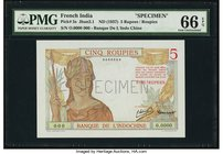 French India Banque de l'Indochine 5 Roupies ND (1937) Pick 5s Specimen PMG Gem Uncirculated 66 EPQ. A well matched 5 Roupies note to pair with the 1 ...