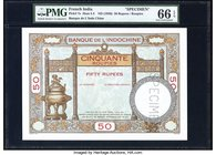 French India Banque de l'Indochine 50 Rupees / Roupies ND (1936) Pick 7s Specimen PMG Gem Uncirculated 66 EPQ. Beautifully executed with terrific eye ...