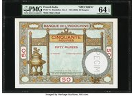 French India Banque de l'Indochine 50 Rupees / Roupies ND (1936) Pick 7s Specimen PMG Choice Uncirculated 64 EPQ. A second, lovely example of this inc...