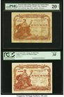 French Indochina Banque de l'Indo-Chine, Haiphong; Saigon 1 Piastre ND (1903-09) (2); Pick 13a; 34a Two Examples PMG Very Fine 20 Net; PCGS Very Fine ...