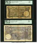 French Indochina Banque de l'Indo-Chine, Haiphong; Saigon 5; 20 Piastres 12.7.1913; 5.5.1917 Pick 16b; 38b Two Examples PCGS Fine 12; Fine 15. A scarc...