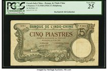French Indochina Banque de l'Indo-Chine, Haiphong 5 Piastres 27.5.1920 ND (1926-27) Pick 19 PCGS Very Fine 25. A scarce, green-hued denomination issue...