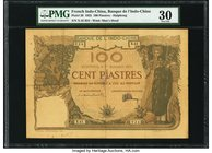 French Indochina Banque de l'Indo-Chine, Haiphong 100 Piastres 1.9.1925 Pick 20 PMG Very Fine 30. A rarely seen Haiphong type, and the final date of i...