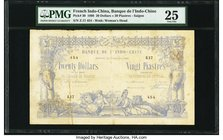 French Indochina Banque de l'Indo-Chine, Saigon 20 Dollars = 20 Piastres 3.9.1898 Pick 30 PMG Very Fine 25. Once again representing the only example g...
