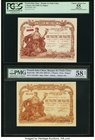 French Indochina Banque de l'Indo-Chine, Saigon 1 Piastre ND (1909-21) Pick 34b Two Examples PMG Choice About Unc 58 Net; PCGS Apparent Choice About N...
