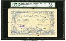 French Indochina Banque de l'Indo-Chine, Saigon 20 Piastres 8.6.1905 Pick 36 PMG Very Fine 25. Crisp, original paper is seen on this grandly sized den...
