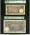 French Indochina Banque de l'Indo-Chine, Saigon 5; 20 Piastres 31.10.1916; 24.4.1917 Pick 37b; 38b Two Examples PCGS Very Fine 25; PMG Very Fine 20 Ne...