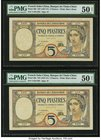 French Indochina Banque de l'Indo-Chine 5 (2); 20 Piastres ND (1927-31); ND (1928-31) Pick 49b (2); 50 Three Examples PMG About Uncirculated 50 Net (2...