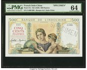 French Indochina Banque de l'Indo-Chine 500 Piastres ND (1939) Pick 57s Specimen PMG Choice Uncirculated 64. This stunning design is especially pleasi...