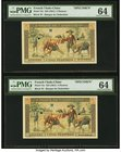 French Indochina Banque de l'Indo-Chine 5 Piastres ND (1951) Pick 75s Two Specimens PMG Choice Uncirculated 64 (2). A beautiful pair of hole punched a...