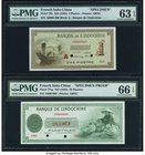American Bank Note Company Engraved French Indo China Banque de L'Indochine Specimen Pair. 1 Piastre ND (1945) Pick 76s Specimen PMG Choice Uncirculat...