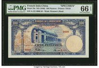 French Indochina Banque de l'Indo-Chine 100 Piastres ND (1946) Pick 79s Specimen PMG Gem Uncirculated 66 EPQ. A beautiful, large format type, printed ...