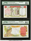 French Indochina Banque de l'Indo-Chine 20; 100 Piastres ND (1949); ND (1947-49) Pick 81s; 82as Two Specimens PMG Gem Uncirculated 65 EPQ; Choice Unci...