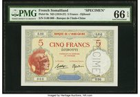 French Somaliland Banque de l'Indochine Djibouti, 5 Francs ND (1928-38) Pick 6s Specimen PMG Gem Uncirculated 66 EPQ. A beautiful and fresh Specimen c...