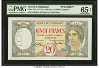 French Somaliland Banque de l'Indochine, Djibouti 20 Francs ND (ca. 1926-28) Pick 7As Specimen PMG Gem Uncirculated 65 EPQ. A beautifully fresh and or...