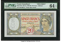 French Somaliland Banque de l'Indochine 20 Francs ND (c.1941) Pick 7As Specimen PMG Choice Uncirculated 64 EPQ. An underrated banknote both in issued ...