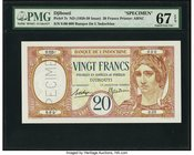 French Somaliland Banque de l'Indochine, Djibouti 20 Francs ND (1928-1938) Pick 7s Specimen PMG Superb Gem Unc 67 EPQ. Simply lovely, and original wit...