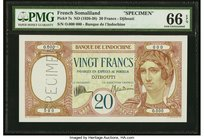 French Somaliland Banque de l'Indochine, Djibouti 20 Francs ND (1926-38) Pick 7s Specimen PMG Gem Uncirculated 66 EPQ. A simply beautiful Specimen for...