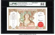 French Somaliland Banque de l'Indochine, Djibouti 100 Francs ND (ca. 1926-38) Pick 8As Specimen PMG Choice Uncirculated 64 EPQ. An attractive Specimen...