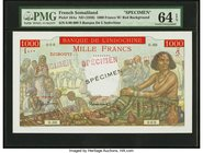 French Somaliland Banque de l'Indochine 1000 Francs ND (1938) Pick 10As Specimen PMG Choice Uncirculated 64 EPQ. A simply beautiful Specimen of this h...