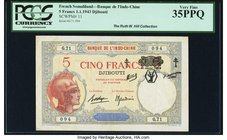 French Somaliland Banque de l'Indochine, Djibouti 5 Francs 1.1.1943 Pick 11 PCGS Very Fine 35PPQ. This high end Very Fine example from the Ruth Hill C...