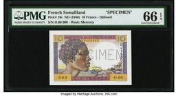 French Somaliland Banque de l'Indochine 10 Francs ND (1946) Pick 19s Specimen PMG Gem Uncirculated 66 EPQ. A classically African designed French note ...