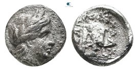 Macedon. Chalkidian League circa 432-348 BC. Diobol AR