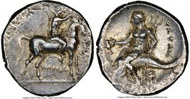 CALABRIA. Tarentum. Ca. 281-240 BC. AR didrachm (20mm, 6.45 gm, 6h). NGC AU 3/5 - 3/5, flan flaw. Philiskos, magistrate. Youth on horseback right, han...