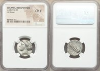 LUCANIA. Metapontum Ca. 400-340 BC. AR stater (19mm, 10h). NGC Choice Fine. Head of Demeter left / Barley ear with seven grains, METAΠ in left field, ...