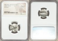 LUCANIA. Metapontum. Ca. 330-280 BC. AR stater (18mm, 9h). NGC Choice Fine. Head of Demeter left, wreathed with grain / META, barley ear with single l...