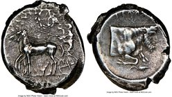 SICILY. Gela. Ca. 430-425 BC. AR tetradrachm (25mm, 16.73 gm, 2h). NGC XF 4/5 - 3/5, light smoothing. Charioteer driving slow quadriga right; wreath a...