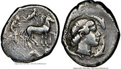 SICILY. Syracuse. Second Democracy (466-405 BC). AR tetradrachm (25mm, 16.74 gm, 5h). NGC Choice Fine 4/5 - 3/5. Charioteer driving quadriga right; ab...