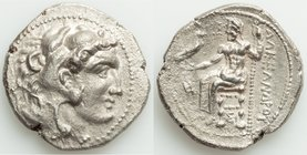 MACEDONIAN KINGDOM. Alexander III the Great (336-323 BC). AR tetradrachm (27mm, 16.56 gm, 1h). XF. Early posthumous issue of Sidon, dated Civic Year 1...
