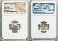 THRACIAN KINGDOM. Lysimachus (305-281 BC). AR drachm (17mm, 11h). NGC Choice XF. Posthumous issue of Magnesia, ca. 305-297 BC. Head of Heracles right,...