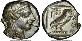 ATTICA. Athens. Ca. 455-440 BC. AR tetradrachm (25mm, 16.79 gm, 2h). NGC Choice XF 5/5 - 2/5, test cut, edge chip. Early transitional issue. Head of A...