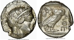ATTICA. Athens. Ca. 440-404 BC. AR tetradrachm (25mm, 17.16 gm, 1h). NGC MS 4/5 - 4/5. Mid-mass coinage issue. Head of Athena right, wearing crested A...