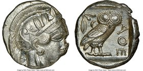 ATTICA. Athens. Ca. 440-404 BC. AR tetradrachm (24mm, 17.21 gm, 7h). NGC MS 3/5 - 5/5. Mid-mass coinage issue. Head of Athena right, wearing crested A...