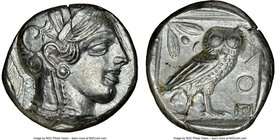 ATTICA. Athens. Ca. 440-404 BC. AR tetradrachm (25mm, 17.14 gm, 11h). NGC Choice AU 5/5 - 4/5. Mid-mass coinage issue. Head of Athena right, wearing c...