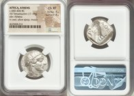 ATTICA. Athens. Ca. 440-404 BC. AR tetradrachm (25mm, 17.18 gm, 5h). NGC Choice XF 4/5 - 4/5. Mid-mass coinage issue. Head of Athena right, wearing cr...