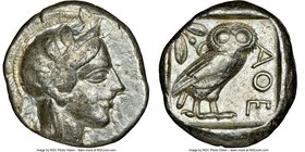ATTICA. Athens. Ca. 440-404 BC. AR tetradrachm (24mm, 17.16 gm, 7h). NGC VF 5/5 - 3/5. Mid-mass coinage issue. Head of Athena right, wearing crested A...