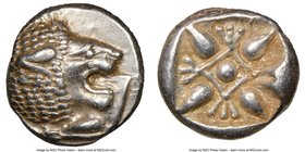 IONIA. Miletus. Ca. late 6th-5th centuries BC. AR obol or 1/12 stater (10mm). NGC Choice AU. Milesian standard. Forepart of roaring lion left, head re...